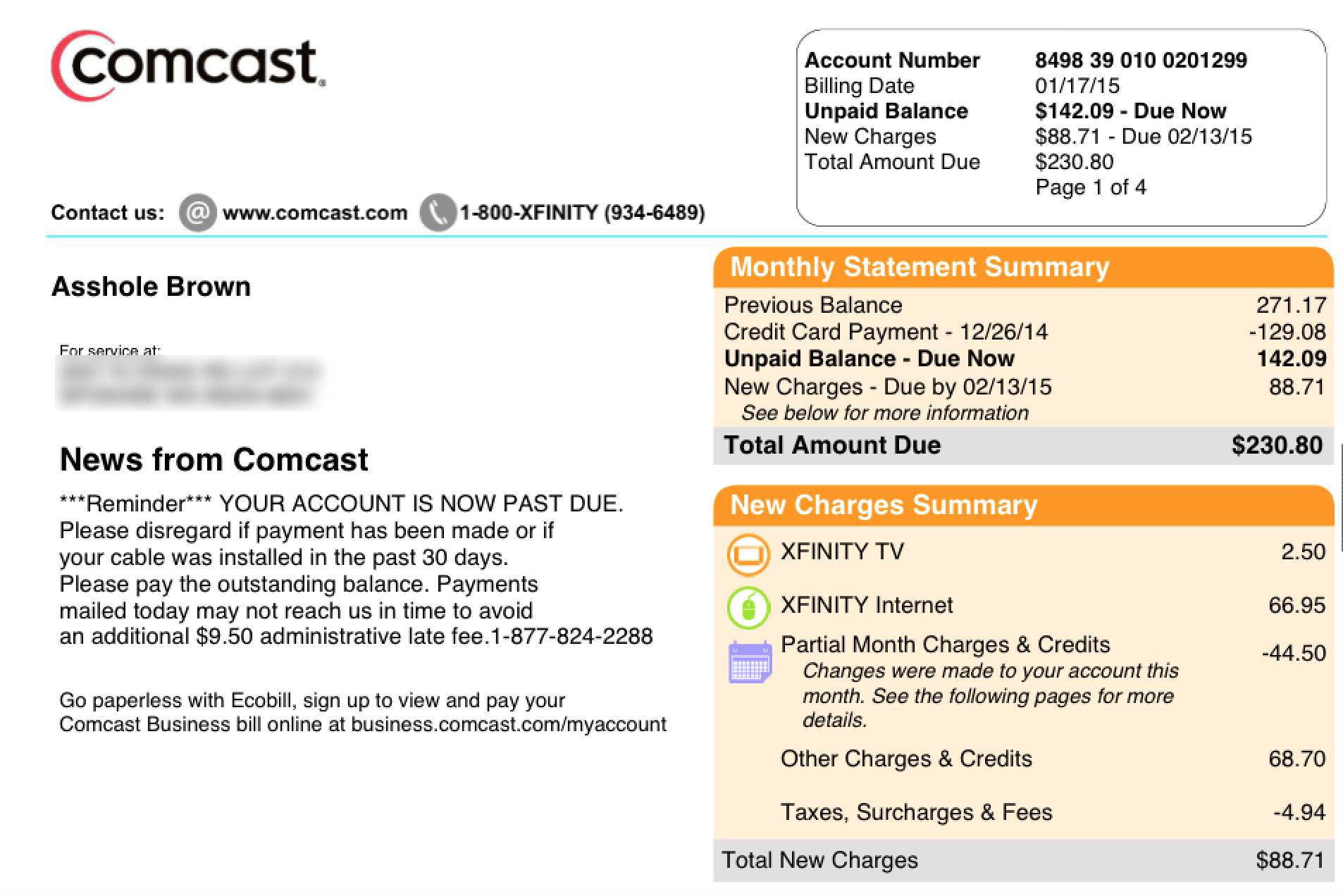 Comcast support rtp - Comcast ahole bill
