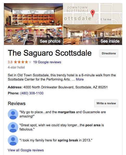 The Saguaro Google Reviews