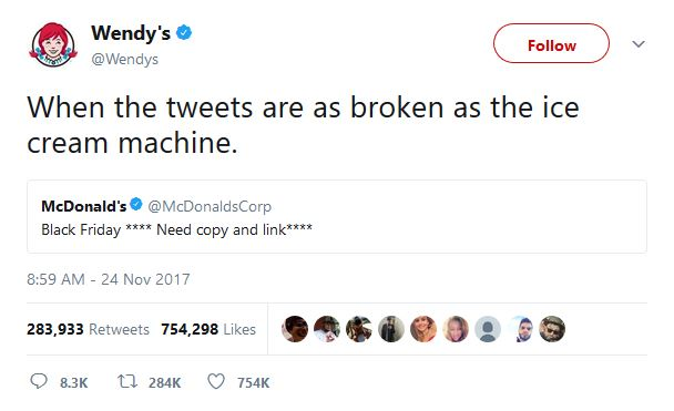 Wendys Has A Beef With McDonalds Black Friday Tweet Reputation - 24 hilarious comebacks wendys twitter account